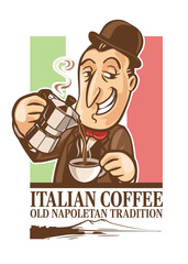 CARTOON ITALIAN COFFEE POSTER