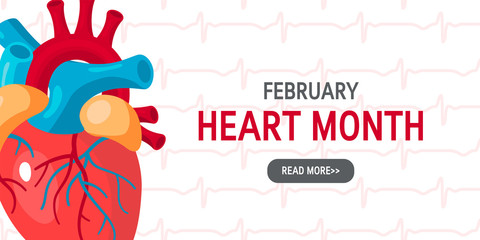National heart month concept in flat style