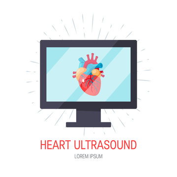 Heart ultrasound concept in flat style, vector