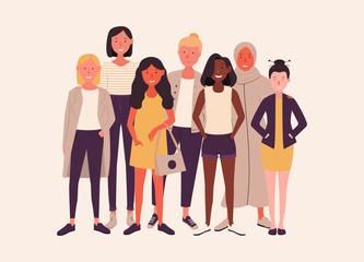 Women of different nationalities together. Female friends hold hands and hugging. Group of feminists, sisterhood. Happy women or girls isolated on white background. Vector illustration