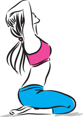 pretty woman fitness stretching illustration
