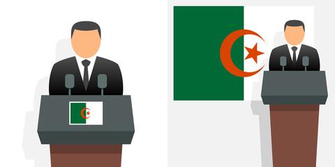 Algerian president and flag