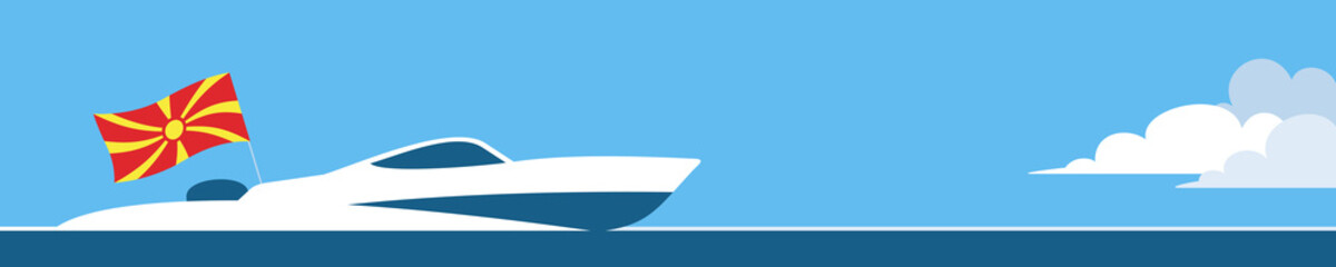 Motor boat with Macedonia flag
