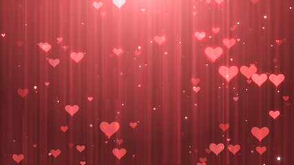 illustration of red heart paticles valentine background