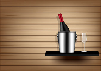Mock up Realistic Wine Bottle, Ice Bucket and Glass  on Abstract Wood Background Illustration Vector