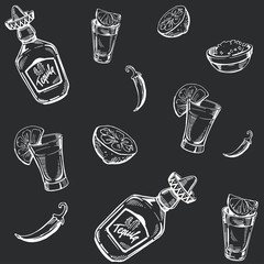 Seamless pattern with tequila, shot, lime. Sketch illustration.Vector.