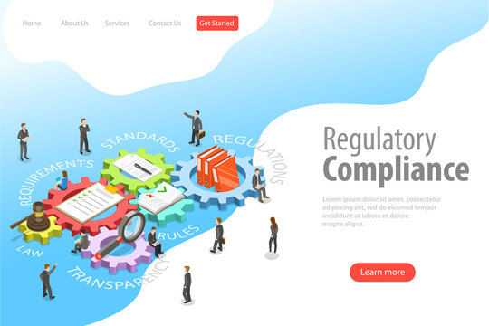 Flat isometric vector landing page template of regulatory compliance, policies and regulations.