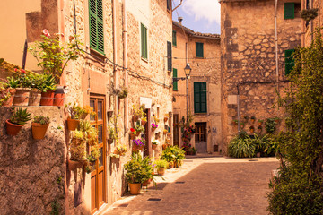 Aluminium Prints Tuscany Valldemossa beautiful streets decorated in plant pots and colorful flowers