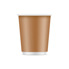 Cardboard cup mockup - front view. Vector illustration
