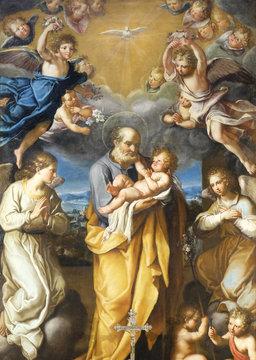 St Joseph with baby Jesus altarpiece by Francesco Cozza in Chapel Chapel of St Joseph, Basilica di Sant Andrea delle Fratte, Rome, Italy