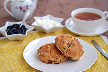 Traditional English scones with dried cranberries on a white plate. Served with jam and whipped cream.