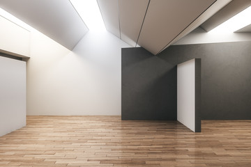 Modern gallery interior with copyspace