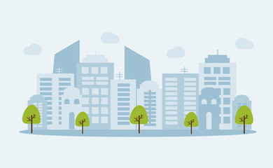 City landscape banner with buildings shapes, trees and clouds on white background. Flat cartoon vector illustration