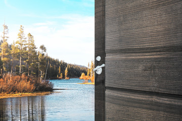 Opening door with lake view