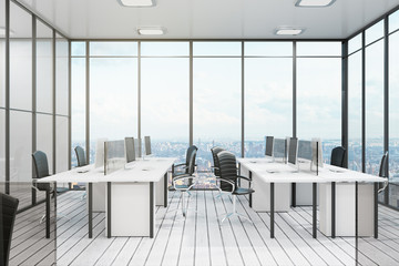 White office with city view