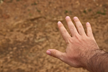 A human hand with an earthy background. Man and nature concept image.