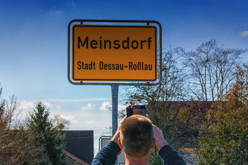 Traffic sign of the town of Meinsdorf