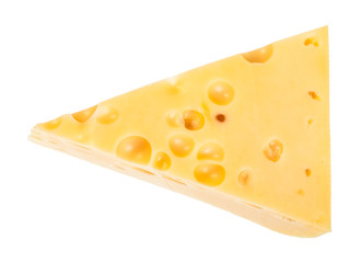 triangular piece of yellow semi-hard swiss cheese