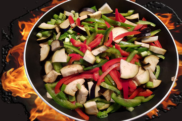 Dish cooking vegetables in the pan