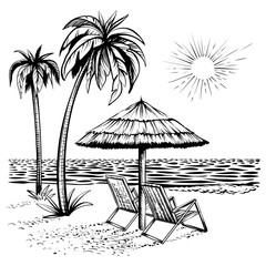 Beach view with palm, lounger and parasol, vector sketch illustration.