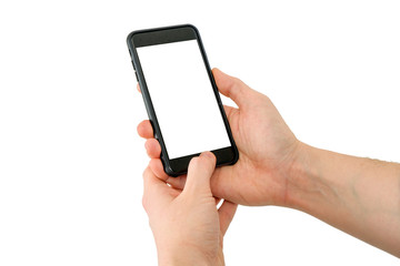 Hand holding mobile phone with blank screen using one hand and unlocking it with finger.