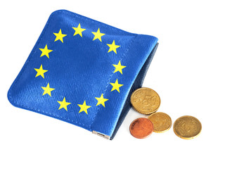 EU purse almost empty, running out of money, euros. Financial, banking crisis, Europe, Italy etc. Concept, metaphor.