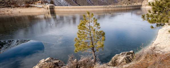 Ice on the water of  Arrow Rock Dam on the Boise River in Idaho