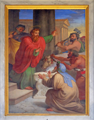 Foto op Aluminium Imagination The fresco with the image of the life of St. Paul: Paul and Barnabas Taken for Gods, basilica of Saint Paul Outside the Walls, Rome, Italy