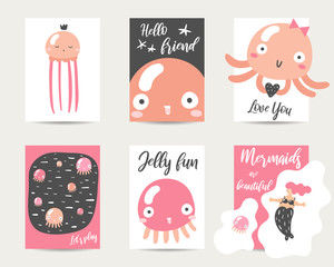 Cute hand drawn anime style cards, brochures, invitations with jellyfish