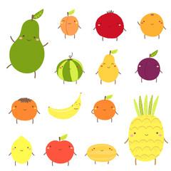 Cute fruit characters including avocado, apricot, garnet, watermelon, pear, plum, banana