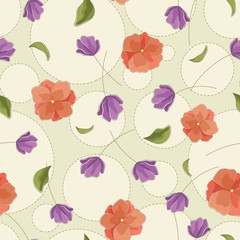 Seamless vector floral pattern with abstract flowers in pastel red and purple colors. Polka dot background with embroidery and rhinestone imitation