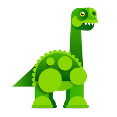 Cute cartoon dinosaur on white background. Prehistoric era.