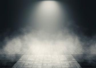 Fotobehang Theater Background of empty room, street. Concrete floor, paving slabs. Neon light, smoke, smog