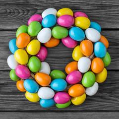 Easter egg decoration against wooden background