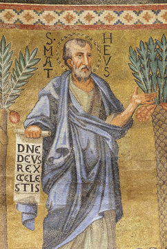 Saint Matthew mosaic in the basilica of Saint Paul Outside the Walls, Rome, Italy