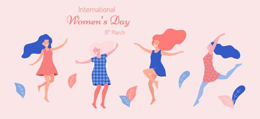 International women's day vector illustration. Beautiful dancing women.