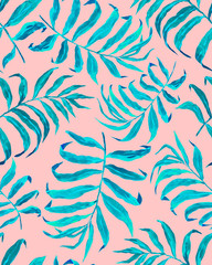 Tropical leaf pattern. Exotic seamless pattern with tropical leaves. Ethnic background with Hawaiian plants.