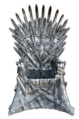 Swords vintage throne isolated on white background