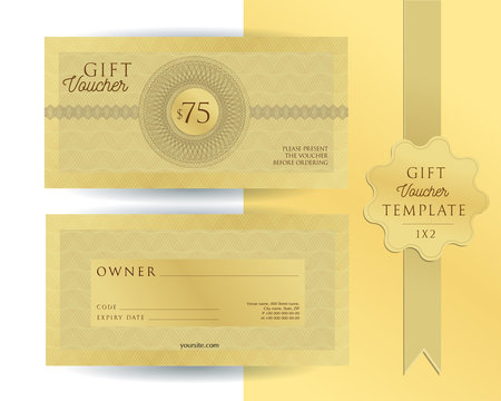 Gold template for 75 dollars gift voucher with guilloche watermarks. Double-sided coupon with fields to fill. The aspect ratio is 2 to 1. The front and back sides have a different design.