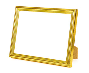 Standing golden picture frame on white background