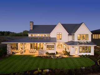 Beautiful Home Exterior at Twilight