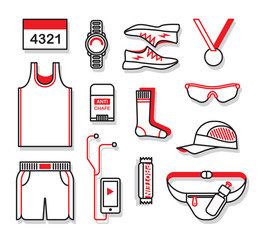 Clothing and accessories for running. Vector illustration set.