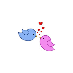 Bird, love, heart, valentine's day icon. Element of color Valentine's Day. Premium quality graphic design icon. Signs and symbols collection icon for websites, web design