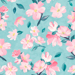 Seamless background pattern of pink Sakura blossom or Japanese flowering cherry symbolic of Spring suitable for textile, wrapping,  fabric.