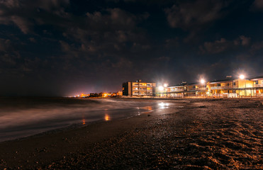 night coast at the resort. holidays, relaxing on the beach.