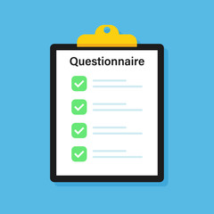 Clipboard Questionnaire. Check list. Cclaim form. Vector illustration.