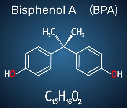 Bisphenol A (BPA) molecule. Structural chemical formula on the dark blue background