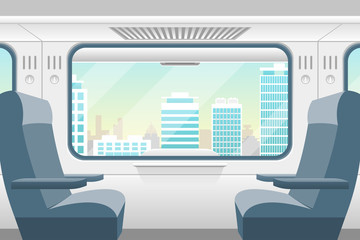 Cartoon Train Inside Interior and Window View. Vector