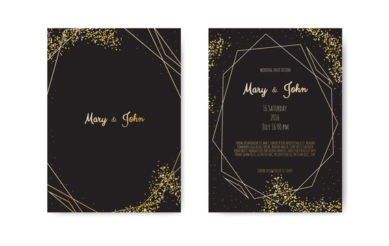 Golden Vector invitation with geometrical frame on black background