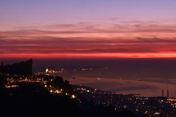 Papiers peints Grenat dramatic dusk over mediterranean sea and Beirut shot from Harissa, Mount Lebanon